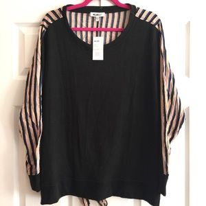 NEW William Rast Black Striped Tie Back Top 1X $79